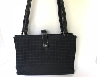 8d813f79d7 Vintage Kate Spade Handbag Kate Spade Purse Black   Gray Nylon Checkered  Top Handles Square Bag Vintage Designer Handbag Designer Bag