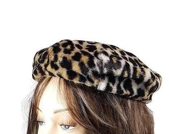 fd264f2a805d3 Leopard Hat Faux Fur Pillbox Hat Animal Print Vintage Mini Beret with Satin  Lining