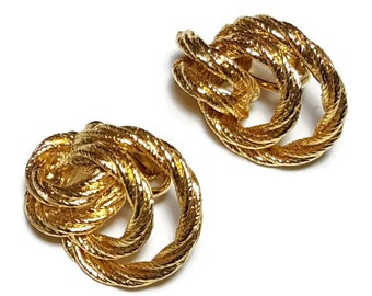 Vintage GOLD ROPE HOOP Clip Earrings 1970s Gold Earrings Clip On Classic Rope Knots