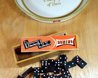 VINTAGE DOMINOES SET In Wooden Box Vintage Games Mid Century Man Cave Game Room Retro Double Six Domino Tiles