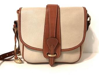 Vintage Dooney And Bourke Handbags Designer Handbags Dooney And Bourke  Crossbody Handbags Vintage Handbags Ivory Leather Bag Brown Trim bf183a27b3be2