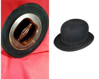 0db103c96c7 VINTAGE HAT STRETCHER and Vintage Bowler Hat for Display Hatter Prop  British Decor Ships Free