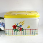 Vintage Bread Box Enamel Metal Bread box Farmhouse Retro Kitchen Decor Bread Storage Great Condition