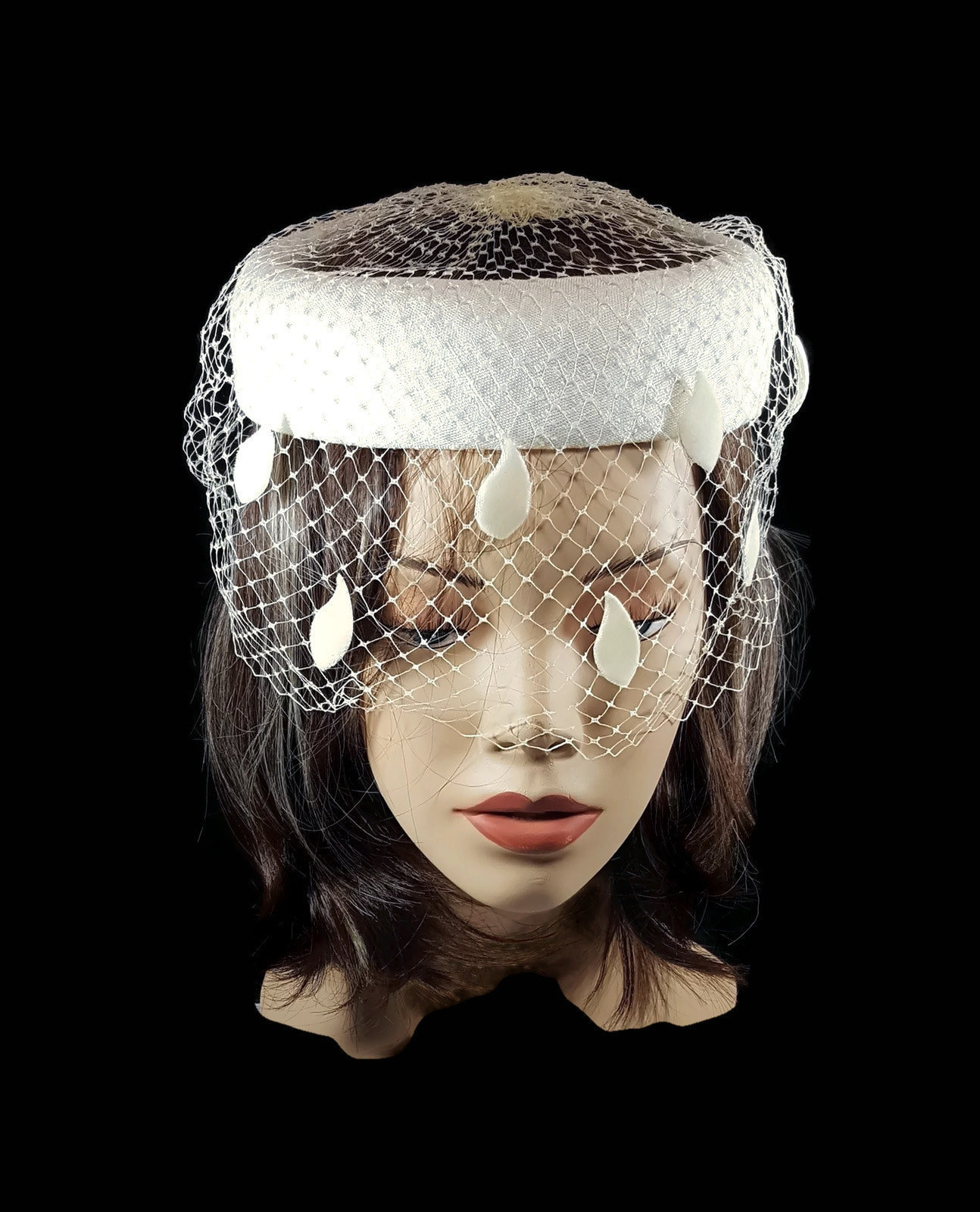 f7781de4b Vintage Fascinator Pillbox White Hat with Veil Teardrop or Raindrop Accents  Tea Party or Church Hat