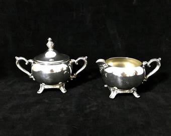 Vintage SILVER CREAM & SUGAR Set Silverplate Tea Party Service Silver Creamer with Lidded Sugar Bowl Gift Idea Wedding Decor