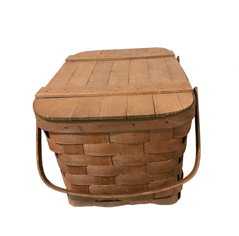 Vintage Picnic Basket Basketville Brown Woven Picnic Basket Wooden Food And Wine Basket with Hinged Lid And Two Handles Excellent Condition