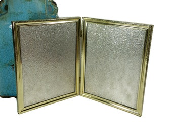 Double 8x10 Photo Frame, Table Top Bifold Picture Frame, 1970s Vintage Gold Metal Frame