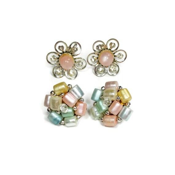 24bcda0c1 PASTEL EARRINGS Clip On Vintage Earrings Pastel Pink with   Etsy