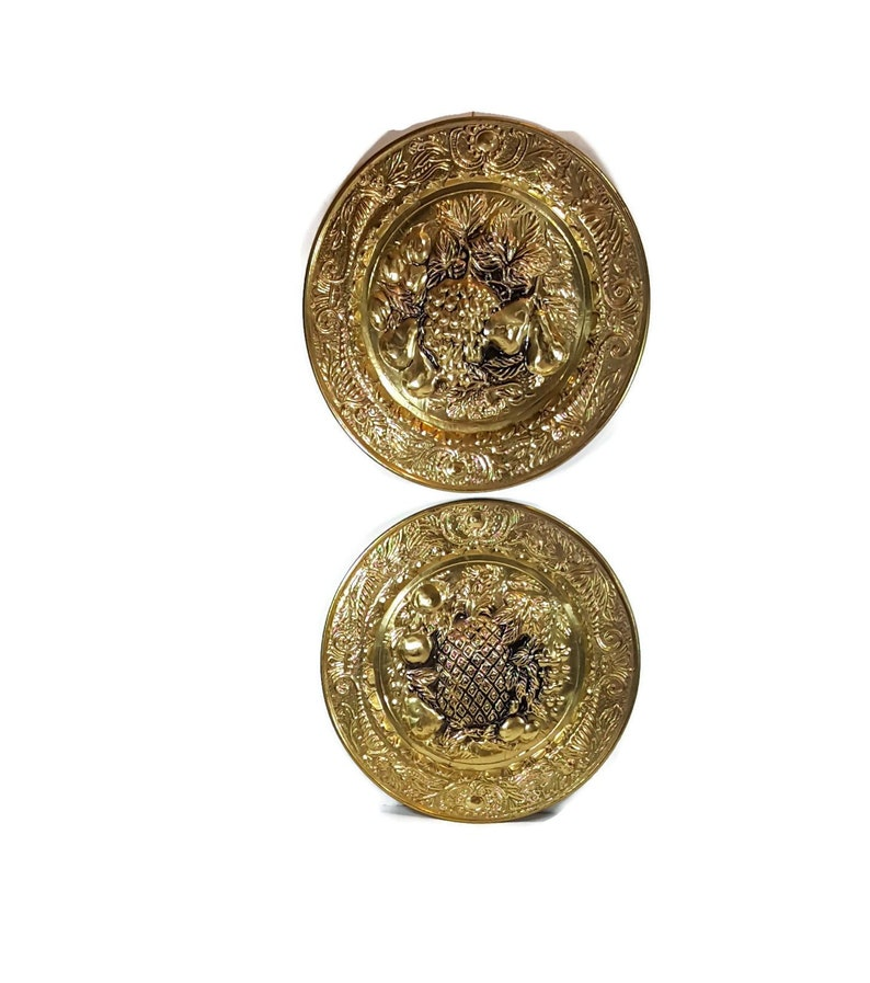 Pair 14 Vintage Brass Wall Plates Decorative Hanging Etsy