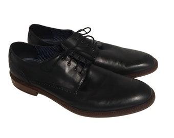 In Box Vintage Winthrop Braxton Black Leather Oxford Shoes 13 Men's Oxfords Size 13 Plain Toe Round Toe Black Oxford Dress Shoes Size 13