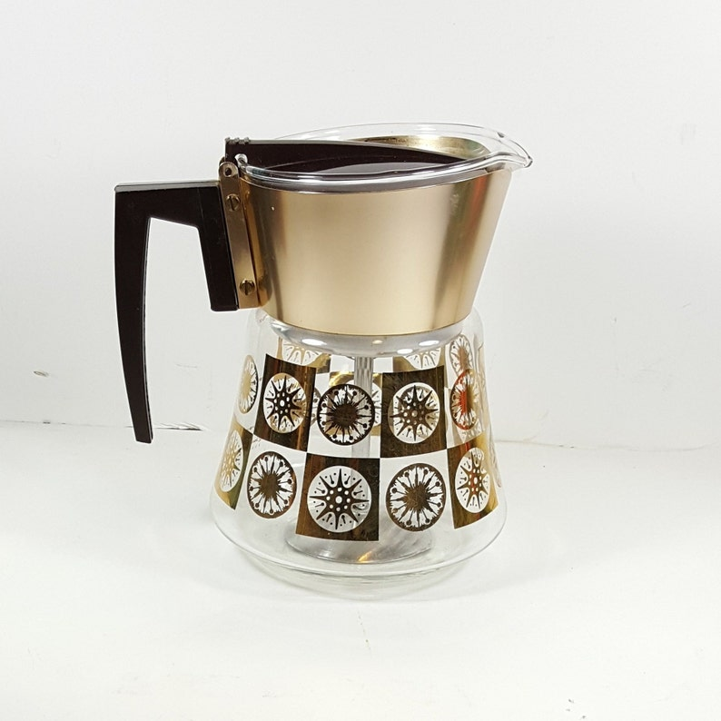 Vintage Percolator MCM Glass & Gold Coffee Pot Mid Century Coffee Maker for  Stovetop Retro Kitchen