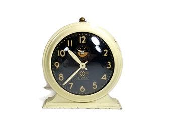 Wind Up Alarm Clock Case, Vintage Clock for Decor, Mid Century Retro Decor Black and White 1960s Clock