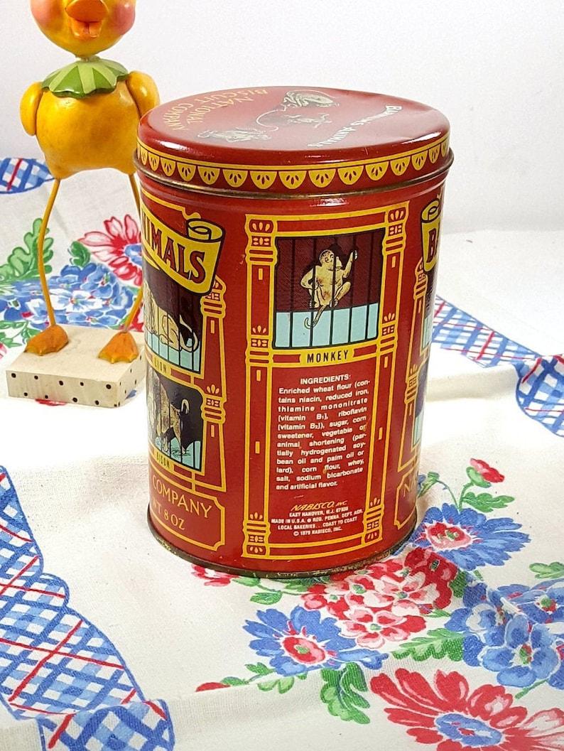 Animal Cracker Vintage Tin 1970s Decorative Tin Circus Theme Farmhouse Kitchen Decor Nursery Decor
