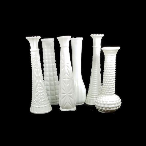 6 Milk Glass Vases Vintage White Bud Vase Wedding Decor Tea Etsy