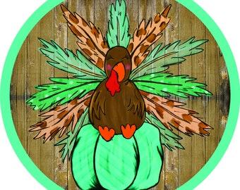 Turkey Day, Wreath Sign, Round