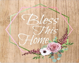 Bless This Home Wreath Sign, Bless This Home Sign, HWM Designs, Signs by HWM