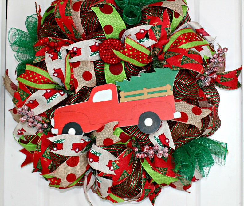 Christmas Tree Wreath Red and Green Christmas Wreath Vintage Christmas Truck Tree Christmas Wreath