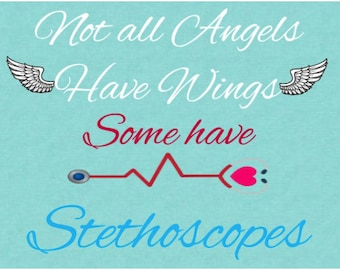 """7 x 9"""" Not all angels have wings some have stethoscopes, Health Care Provider Sign, For Nurses & Doctors, Wreath Sign, DesignsbyHWM"""
