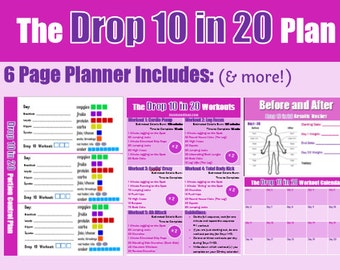 The Drop 10 Workout Plan Bundle: Including Guidelines, Portion Control Logging Sheets, 1200-1500 Calorie Plan, 5 Custom Workouts, Calendar