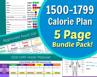 1500-1799 Calorie Planner for Portion Control Diet: 5 Page PDF - Container Tally Sheets, Menu Planner, Results Tracker & Food List!