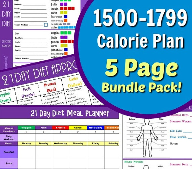 21 Day Portion Control 1500-1799 Calorie Diet Plan 5 Page PDF image 0