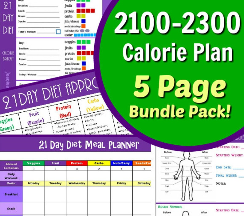 21 Day Diet Plan for 2100-2300 Calorie Bracket 5 Page PDF image 0
