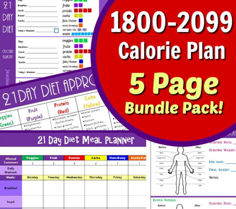 21 Day 1800-2099 Calorie Diet Plan  5 Page PDF BUNDLE: Menu image 0