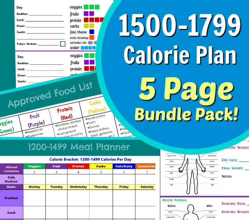 photograph regarding Food Calorie List Printable titled 1500-1799 Calorie Planner for Aspect Handle Diet program: 5 Site PDF - Container Tally Sheets, Menu Planner, Accomplishment Tracker Foods Record!
