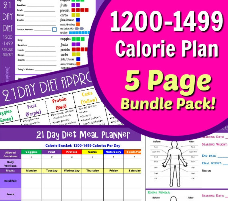 21 Day Diet 1200-1499 Calories Fix Your Bod with our 5 Page image 0