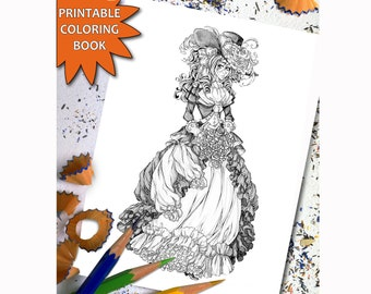 Victorian Fashion Grayscale Coloring Book For Adults Printable Adult Page Download Pages