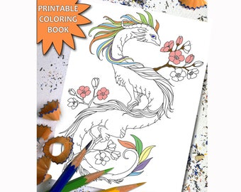 Fairy Dragons ADULT COLORING BOOK Adult Coloring Book Download Dragon LineArt Instant Printable For Girls
