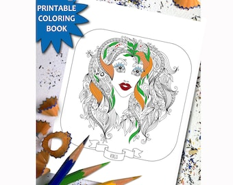 Zodiac Signs ADULT COLORING BOOK 12 Adult Coloring Printable Pages Instant Download Book For Girls