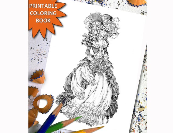 Victorian Fashion Grayscale Coloring Book for Adults, Printable Adult  Coloring Book Page, Download Printable Coloring Pages