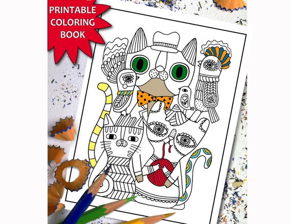 Creative Cats ADULT COLORING BOOK Printable Adult Coloring | Etsy