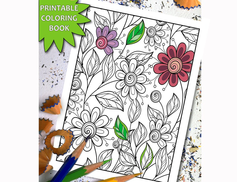 15 Flowers Patterns Adult Coloring Book Pages Etsyrhetsy: Coloring Pages Of Flowers That You Can Print At Baymontmadison.com