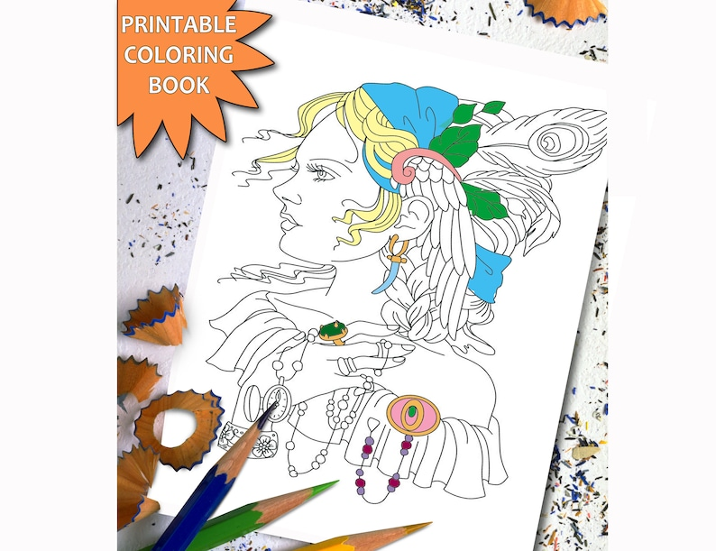 Pretty Women ADULT COLORING BOOK Sexy Girl Printable Adult