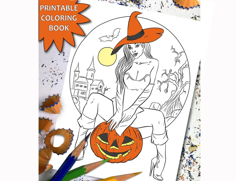 Halloween Adult Coloring Book Sexy Girl Printable Adult Etsy