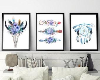 Boho Style Printable Wall Art, Set of 3 Prints, Printable Wall Art, Digital Download Art, Wall Decor Set of 3 Wall Art Print, Wall Art Sets