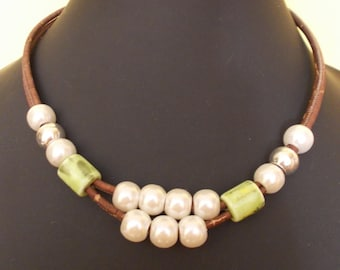 Handmade necklace havaiana style,natural portuguese cork