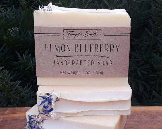 Lemon Blueberry Handcrafted Soap with Cocoa Butter- Natural & Organic (5 oz.)