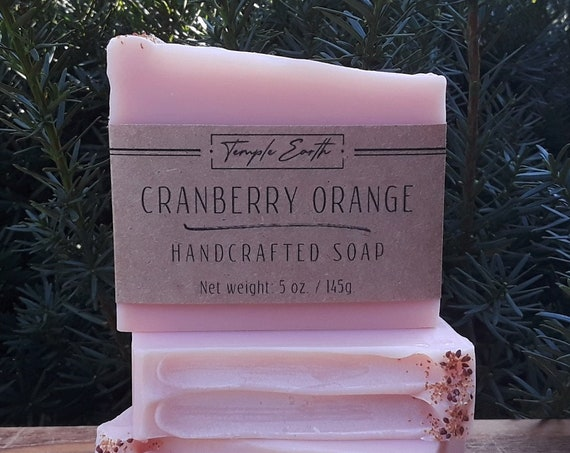 Cranberry Orange Soap with Cocoa Butter (5 oz.) - Handcrafted Organic Soap