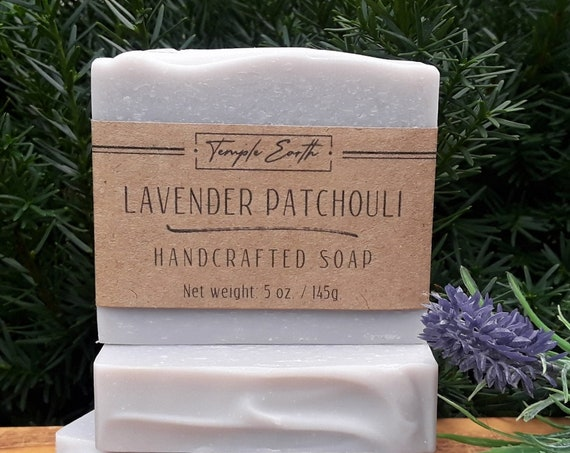 Lavender Patchouli Soap with Cocoa Butter (5 oz.) - Handcrafted Organic Soap