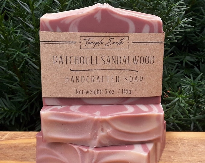 Featured listing image: Patchouli Sandalwood Soap with Cocoa Butter (5 oz.) - Handcrafted Organic Soap