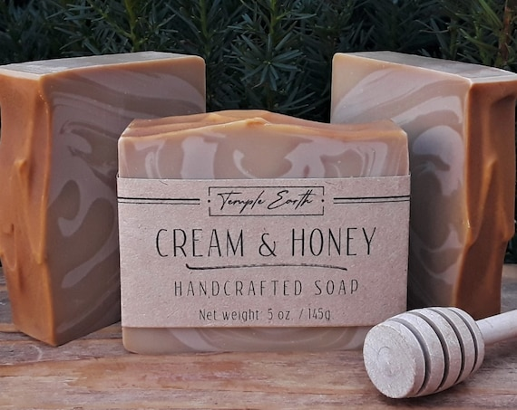 Cream & Honey Soap with Cocoa and Shea Butter (5 oz.) - Handcrafted Organic Soap