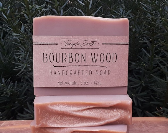 Bourbon Wood Soap with Shea Butter (5 oz.) - Handcrafted Organic Soap
