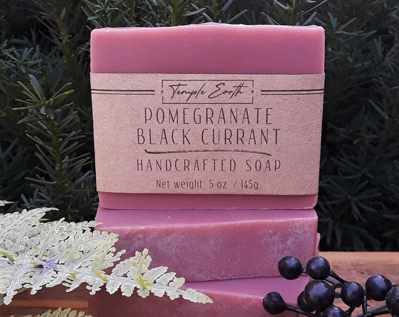 Pomegranate Black Currant Handcrafted Soap (5 oz.) Made with Cocoa Butter - Autumn Soap