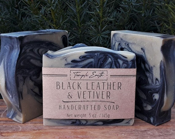 Black Leather & Vetiver Soap with Cocoa Butter (5 oz.) - Handcrafted Organic Soap for Men