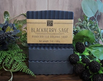 Blackberry Sage Soap with Shea Butter (5 oz.) - Handcrafted Organic Soap