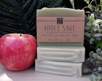 Apple Sage Soap with Shea Butter (5 oz.) - Handcrafted Organic Soap