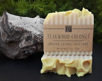Teakwood Coconut Soap with Coconut Milk and Cocoa Butter (5 oz.) - Handcrafted Organic Soap